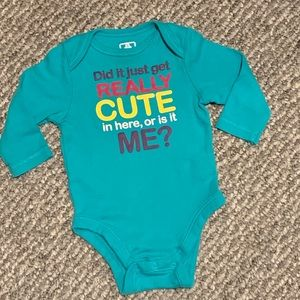 Cute Long Sleeve Teal Onesie